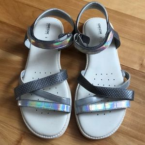 Girls Geox silver and grey sandals